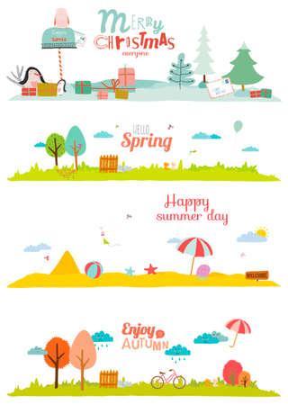 arboles de caricatura: Ilustración del vector banderas para el turismo o campamento para niños en un estilo lindo y de dibujos animados. Primavera, verano, otoño e invierno fondos. Al aire libre, nieve, playa, mar, parque infantil, jardín, cielo, hierba Vectores