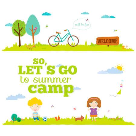 campamento: Ilustración del vector banderas para el turismo o campamento para niños en un estilo lindo y de dibujos animados. La primavera y el verano de fondo temporada. Al aire libre, viajes, playa, mar, parque infantil, jardín, cielo, hierba, árbol Vectores
