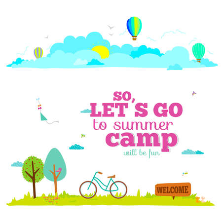 kid cartoon: Vector illustration banners for tourism or camp for kids in a cute and cartoon style. Spring and summer season background. Outdoor, travel, beach, sea, playground, garden, sky, grass, tree