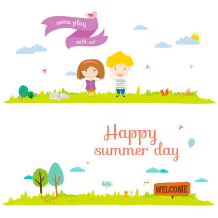 Vector illustration banners for tourism or camp for kids in a cute and cartoon style. Spring and summer season background. Outdoor, travel, beach, sea, playground, garden, sky, grass, tree