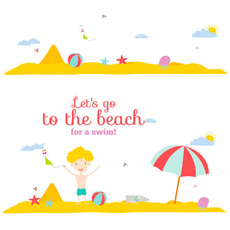 sea grass: Vector illustration banners for tourism or camp for kids in a cute and cartoon style. Spring and summer season background. Outdoor, travel, beach, sea, playground, garden, sky, grass, tree