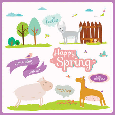 Vector set of cartoon and funny animals with place text. Template summer and spring illustration in cute style. Vintage collection. Can be used for happy birthday greetings and other holidays Vector