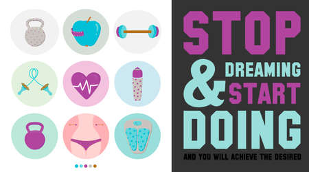 quotes: Collection of unusual motivational posters on the sport, healthy lifestyle and fitness for men and women. Vector design with fitness icons on white background. Typographic inspirational and quotes