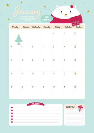 schedule: Cute Calendar Template for 2016. Beautiful Diary with Vector Character and Funny Illustrations Animals. Trendy Season Holidays Backgrounds. Good Organizer and Schedule with place for Notes Illustration