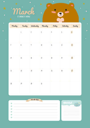cute: Cute Calendar Template for 2016. Beautiful Diary with Vector Character and Funny Illustrations Animals. Trendy Season Holidays Backgrounds. Good Organizer and Schedule with place for Notes Illustration