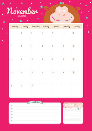 cute wallpaper: Cute Calendar Template for 2016. Beautiful Diary with Vector Character and Funny Illustrations Animals. Trendy Season Holidays Backgrounds. Good Organizer and Schedule with place for Notes Illustration