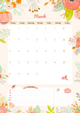 cute: Cute Calendar Template for 2016. Beautiful Diary with Vector Character and Funny Illustrations Animals and Kids. Trendy Season Holidays Backgrounds. Good Organizer and Schedule with place for Notes