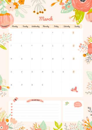 Mignon modèle de calendrier pour 2016. Belle Diary avec Vector Caractère et drôle Illustrations animaux et les enfants. Saison branchés Vacances Fond. Bon organisateur et l'annexe avec le lieu pour les billets