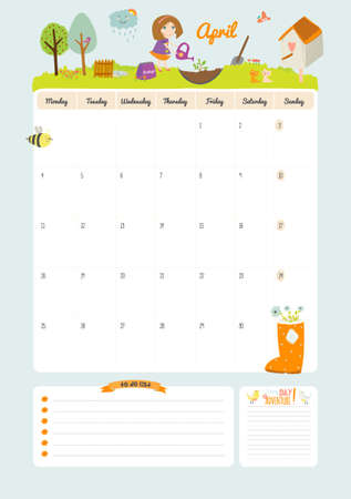 calendar page: Cute Calendar Template for 2016. Beautiful Diary with Vector Character and Funny Illustrations Animals and Kids. Trendy Season Holidays Backgrounds. Good Organizer and Schedule with place for Notes