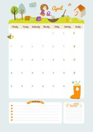 Netter Kalender Für 2016. Schöne Tagebuch Mit Vector Motivation Und ...