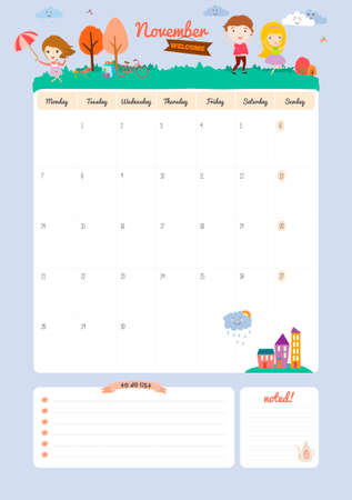 months of the year: Cute Calendar Template for 2016. Beautiful Diary with Vector Character and Funny Illustrations Animals and Kids. Trendy Season Holidays Backgrounds. Good Organizer and Schedule with place for Notes