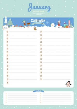funny birthday: Cute Calendar 2016 Template. Happy Birthday Diary with Vector Character and Funny Illustrations Animals and Kids. Trendy Season Holidays Backgrounds. Good Organizer and Schedule with place for Notes