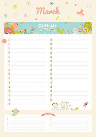 diary: Cute Calendar 2016 Template. Happy Birthday Diary with Vector Character and Funny Illustrations Animals and Kids. Trendy Season Holidays Backgrounds. Good Organizer and Schedule with place for Notes