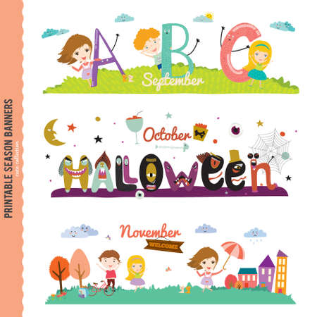 seasonally: Set of Three Monthly Seasonally Vector Banners in a Cute and Character Style for Posters, Flyers, Web or other Graphic Designs. Summer, Autumn, Winter, Spring Season. Nature Outdoor Backgrounds