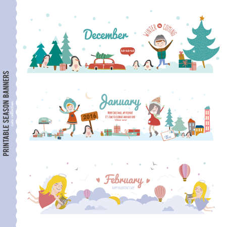 four: Set of Three Monthly Seasonally Vector Banners in a Cute and Character Style for Posters, Flyers, Web or other Graphic Designs. Summer, Autumn, Winter, Spring Season. Nature Outdoor Backgrounds