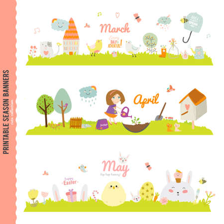 spring landscape: Set of Three Monthly Seasonally Vector Banners in a Cute and Character Style for Posters, Flyers, Web or other Graphic Designs. Summer, Autumn, Winter, Spring Season. Nature Outdoor Backgrounds
