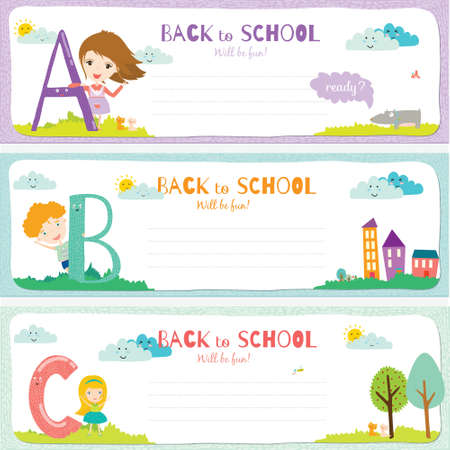 Back to School design. Cute and cartoon illustration smiling happy kids welcome to school. ABC.Vector design elements for notebook, diary, organizer and other school template design. Illustration