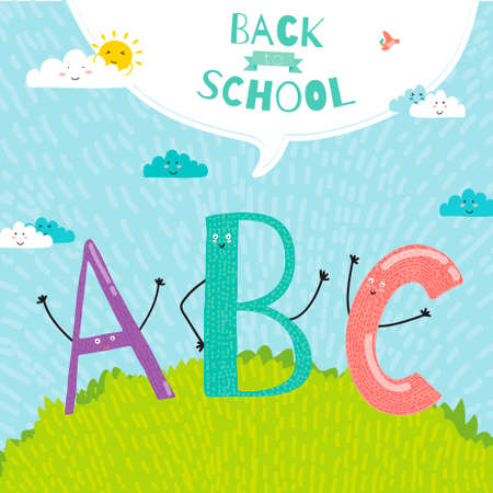 hi back: Back to School design. Cute and cartoon illustration smiling happy kids welcome to school. ABC.Vector design elements for notebook, diary, organizer and other school template design. Illustration