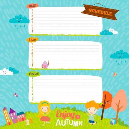 niños en la escuela: Elementos de diseño vectorial para el cuaderno, diario, organizador y otro diseño de la plantilla de la escuela. Lindo y la ilustración de dibujos animados feliz sonriendo niñas y niños. Adiós verano. Hola otoño.
