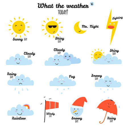 Collection of unusual cartoon and funny smiley weather icons. Vector illustration in cute style. Ilustração