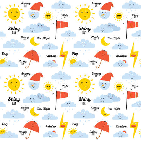 Unusual seamless vector childish pattern with cartoon and funny smiley weather icons. Vector illustration in cute style. Can be used like happy birthday cards. Sunny, cloudy, rainy, snowy, windy. Vector