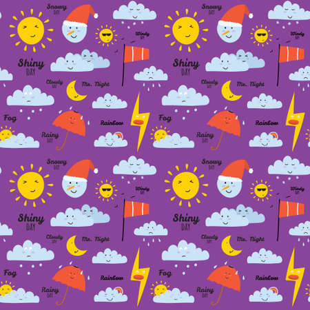 cute graphic: Unusual seamless vector childish pattern with cartoon and funny smiley weather icons. Vector illustration in cute style. Can be used like happy birthday cards. Sunny, cloudy, rainy, snowy, windy.