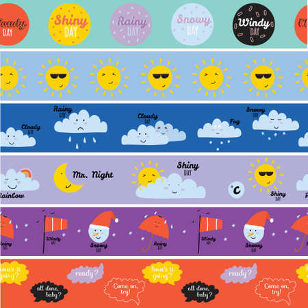 cloudy: Unusual seamless vector childish pattern with cartoon and funny smiley weather icons. Vector illustration in cute style. Can be used like happy birthday cards. Sunny, cloudy, rainy, snowy, windy.