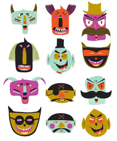 Bright trick or treat card in vector. Stylish halloween illustration with cute, funny, evil, fearsome monsters in cartoon style. Super monster. Happy Halloween party, kids. Eat, drink and be scary