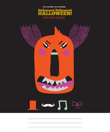 treat: Bright trick or treat card in vector. Stylish halloween illustration with cute, funny, evil, fearsome monsters in cartoon style. Super monster. Happy Halloween party, kids. Eat, drink and be scary