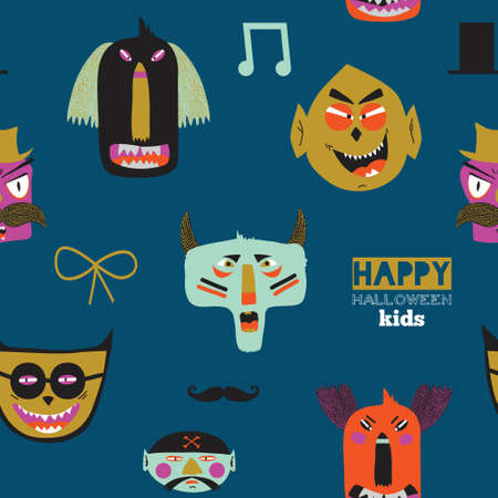 fearsome: Bright trick or treat seamless pattern in vector. Stylish halloween illustration with cute, funny, evil, fearsome monsters in cartoon style. Super monster. Eat, drink and be scary.