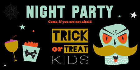 kids eat: Bright trick or treat card in vector. Stylish halloween illustration with cute, funny, evil, fearsome monsters in cartoon style. Super monster. Happy Halloween party, kids. Eat, drink and be scary