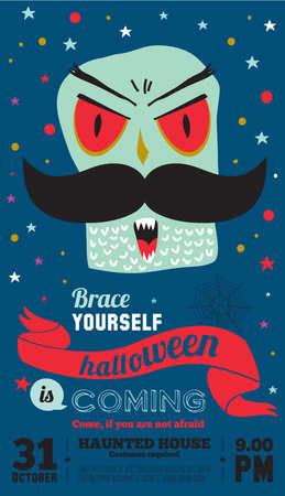 treats: Truco brillante o tarjeta de regalo en el vector. Ilustración con estilo de Halloween con lindo, divertido, mal, monstruos temibles en estilo de dibujos animados. Monstruo súper. Feliz fiesta de Halloween, los niños. Comer, beber y dar miedo