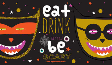 Bright trick or treat card in vector. Stylish halloween illustration with cute, funny, evil, fearsome monsters in cartoon style. Super monster. Happy Halloween party, kids. Eat, drink and be scary Vector