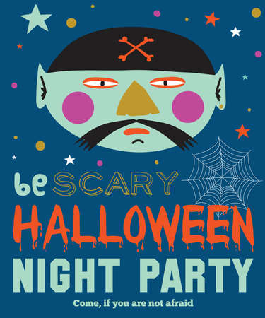 fearsome: Bright trick or treat card in vector. Stylish halloween illustration with cute, funny, evil, fearsome monsters in cartoon style. Super monster. Happy Halloween party, kids. Eat, drink and be scary