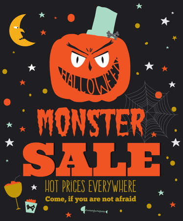 Bright trick or treat poster in vector. Stylish illustration with monsters halloween typographic. Poster design in hipster style. Happy Halloween party, kids. Hot prices everywhere.