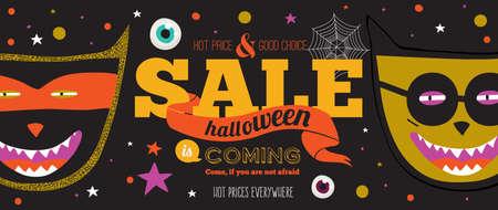 treats: Truco brillante o cartel convite en el vector. Ilustración con estilo con los monstruos de Halloween tipográfico. Diseño de cartel en el estilo inconformista. Feliz fiesta de Halloween, los niños. Precios calientes por todas partes.