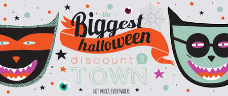 treat: Bright trick or treat poster in vector. Stylish illustration with monsters halloween typographic. Poster design in hipster style. Happy Halloween party, kids. Hot prices everywhere.