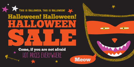 Bright trick or treat poster in vector. Stylish illustration with monsters halloween typographic. Poster design in hipster style. Happy Halloween party, kids. Hot prices everywhere. Vector