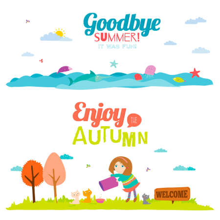 sea grass: Vector illustration banners with funny happy smiling kids. Bright backgrounds in a cute and cartoon style. Goodbye summer. Hello autumn. Outdoor, travel, beach, sea, playground, garden, sky, grass
