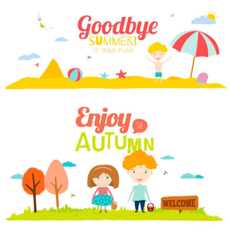 addio: Banner Illustrazione vettoriale con bambini sorridenti divertimento felice. Sfondi luminosi in stile carino e cartone animato. Addio estate. Ciao autunno. Outdoor, viaggiare, spiaggia, mare, parco giochi, giardino, cielo, erba