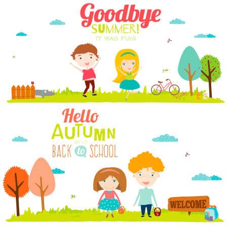 herbe ciel: Banni�res illustration vectorielle avec enfants souriants dr�le heureux. Arri�re-plan lumineux dans un style mignon et bande dessin�e. Au revoir l'�t�. Bonjour l'automne. Plein air, Voyage, plage, mer, aire de jeux, jardin, ciel, l'herbe