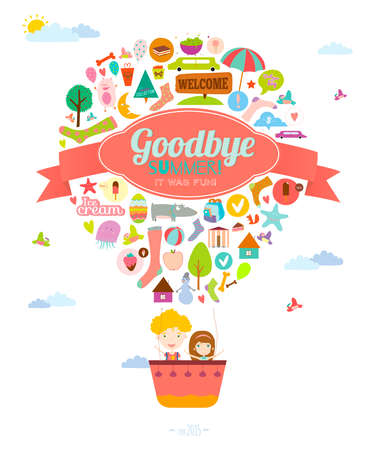goodbye: Vector illustration with funny animals and happy kids welcome to school. Bright balloon background in a cute and cartoon style. Goodbye summer. Hello autumn. Outdoor, travel, holiday, sky