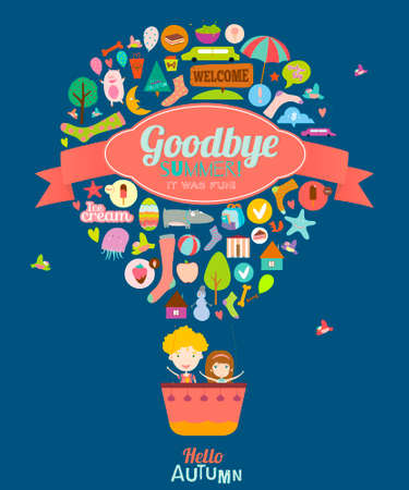 Vector illustration with funny animals and happy kids welcome to school. Bright balloon background in a cute and cartoon style. Goodbye summer. Hello autumn. Outdoor, travel, holiday, sky