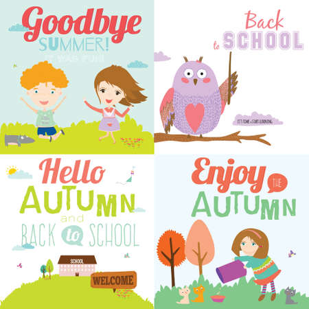 funny travel: Vector illustration background with funny and happy smiling kids welcome to school  in a cute and cartoon style. Goodbye summer. Hello autumn. Outdoor, travel, playground, garden, sky, grass, tree Illustration