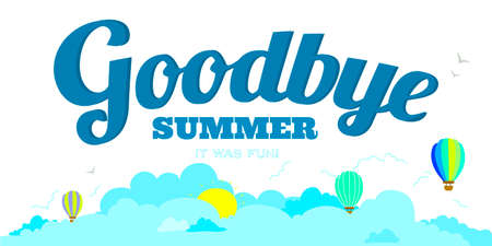 funny travel: Vector illustration banners with funny happy smiling kids. Bright backgrounds in a cute and cartoon style. Goodbye summer. Hello autumn. Outdoor, travel, beach, sea, playground, garden, sky, grass