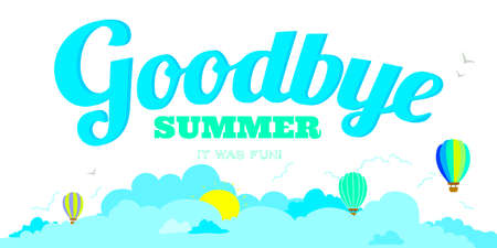 goodbye: Vector illustration banners with funny happy smiling kids. Bright backgrounds in a cute and cartoon style. Goodbye summer. Hello autumn. Outdoor, travel, beach, sea, playground, garden, sky, grass