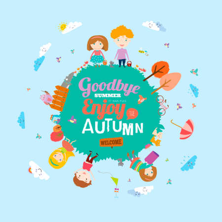 Vector illustration with funny animals and happy kids on the ground round. Bright background in a cute and cartoon style. Goodbye summer. Hello autumn. Outdoor, travel, playground, garden, sky, grass