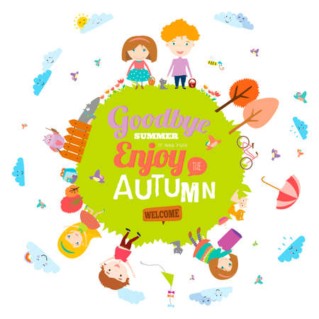 hi back: Vector illustration with funny animals and happy kids on the ground round. Bright background in a cute and cartoon style. Goodbye summer. Hello autumn. Outdoor, travel, playground, garden, sky, grass