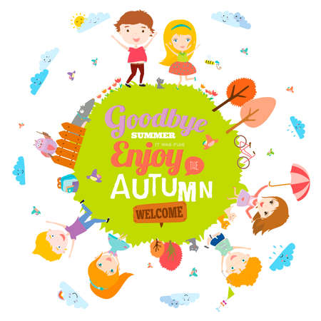 funny travel: Vector illustration with funny animals and happy kids on the ground round. Bright background in a cute and cartoon style. Goodbye summer. Hello autumn. Outdoor, travel, playground, garden, sky, grass
