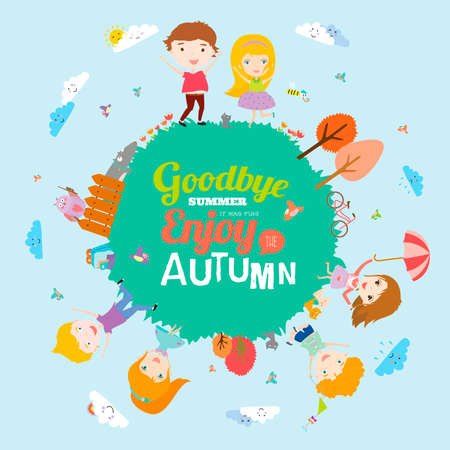 goodbye: Vector illustration with funny animals and happy kids on the ground round. Bright background in a cute and cartoon style. Goodbye summer. Hello autumn. Outdoor, travel, playground, garden, sky, grass